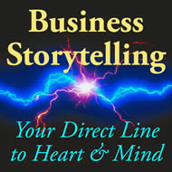 Business Storytelling logo: A Direct Line to Hearts and Minds